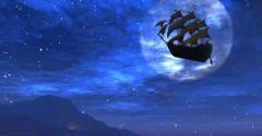 nave cielo luna