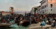 Lo sbarco dei cacciatori delle Alpi a Sesto Calende il 23 Maggio del 1859